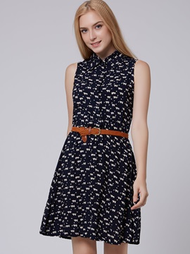 Casual Belted Print Day Dress