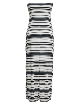 Off-Shoulder Stripe Split Long Dress