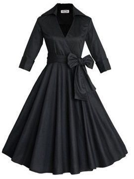 Knot Lapel 3/4 Sleeve Women's Vintage Dress