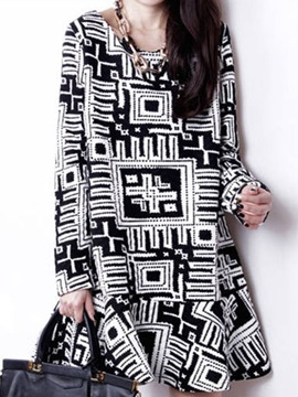 Chic Long Sleeve Round Neck Print Day Dress
