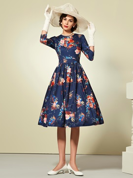 Chic Floral Print 3/4 Sleeve Skater Dress