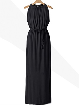 Solid Color Sleeveless Belt Day Dress