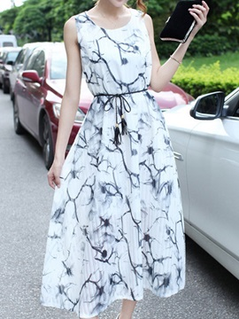 Round Neck Sleeveless Print Day Dress