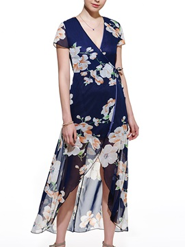 Floral Print High-Low V Day Dress