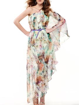 Sisjuly Print One-shoulder Day Dress
