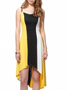 Chic Contrast Color High-Low Sleeveless Day Dress