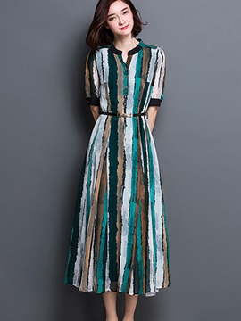 Stripe Gradient Half Sleeve Day Dress