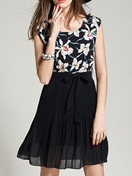 Sisjuly® Floral Print Patchwork Day Dress