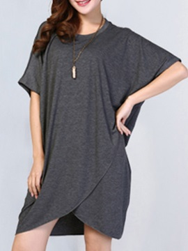 Asymmetric Solid Color Day Dress