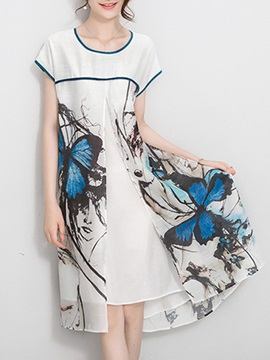 Print Asymmetrical Women's Day Dress