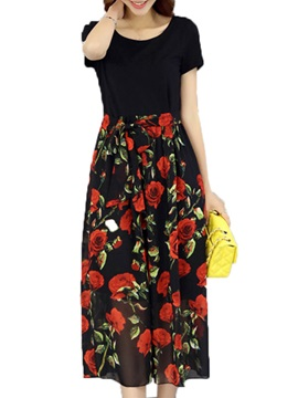 Floral Print Short Sleeve Patchwork Day Dress