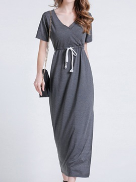 Plain V Neck Short Sleeve Day Dress
