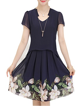 Chic V-Neck Floral Print Ruffled Day Dress
