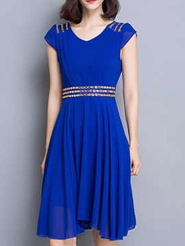 Solid Color Diamond Slim Day Dress