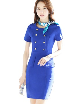 Solid Color Short Sleeve Button Work Dress