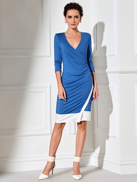 Color Block Long Sleeve Asymmetrical Day Dress