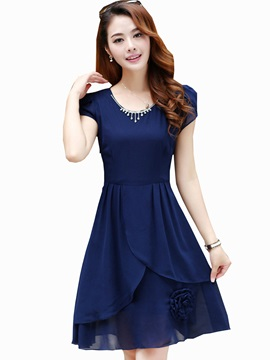 Solid Color Short Sleeve Appliques Skater Dress