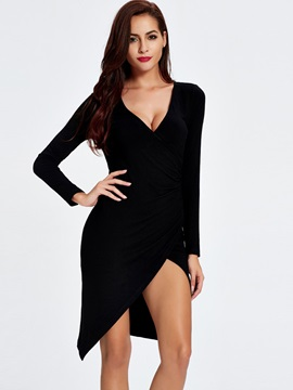 V-Neck Asymmetric Long Sleeve Dress