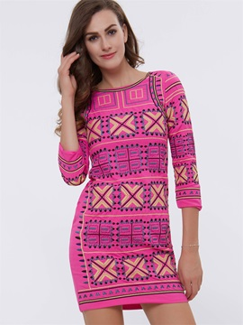 Print Round Neck Bodycon Dress