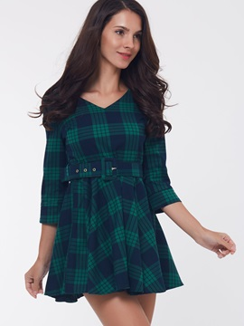 Plaid V-Neck 3/4 Sleeve Belt Day Dress