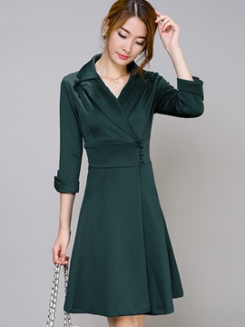Solid Notched Lapel Button Day Dress