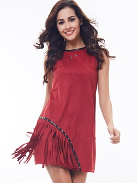 Color Block Sleeveless Rivet Tassel Day Dress
