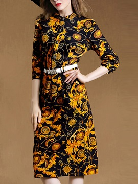 Floral Print Stand Collar Belt Day Dress