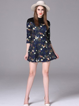 Floral Print Mid-Waist Zipper Day Dress