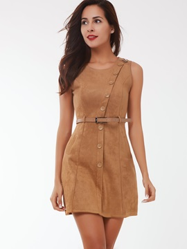 Solid Sleeveless Button Belt Day Dress