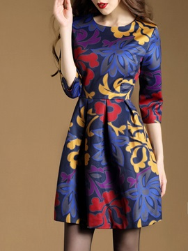Floral Print Pullover 3/4 Sleeve Day Dress