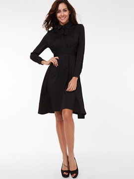 Plain Lapel Lace-Up Day Dress