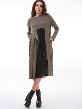Color Block Round Neck Patchwork Day Dress