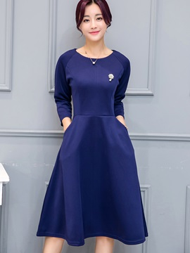 Solid Round Neck Round Neck Day Dress