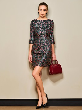 Floral Print 3/4 Sleeve Pullover Day Dress