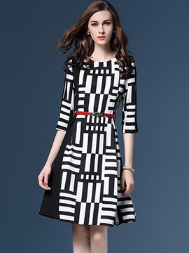 Vertical Striped 3/4 Sleeve Work Dress