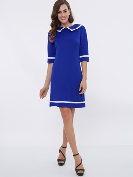 Lapel Half Sleeve Contrast Color Work Dress