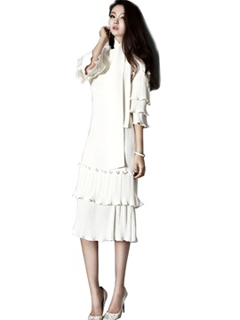 Flare Sleeve Pleated Patchwork Layered Dress