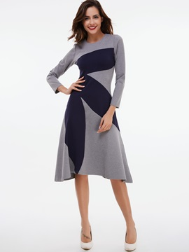 Contrast Color Round Neck Zipper A-Line Day Dress