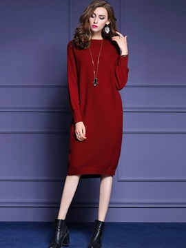 Turtleneck Solid Color Pullover Sweater Dress