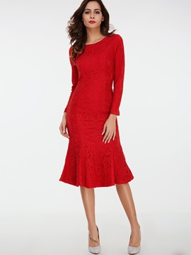 Nine Points Sleeve Print Mermaid Lace Dress