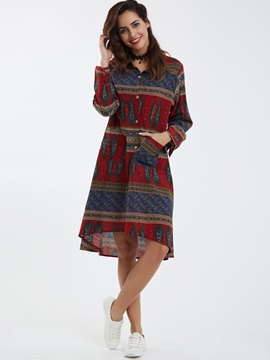 Ethnic Lapel Geometric Day Dress