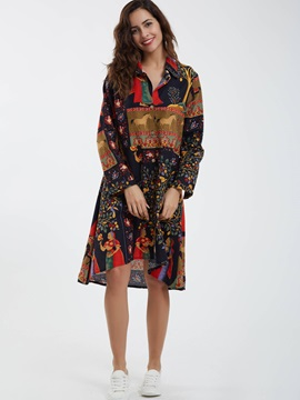 Lapel A-Line Flower Printed Day Dress