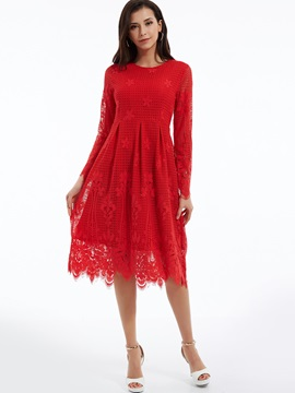 Plain Round Neck Expansion Lace Dress