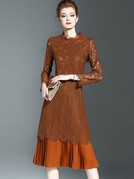 Round Neck Patchwork Pleated Lace Dress