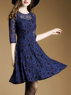3/4 Sleeve Hollow Patchwork Lace Dress