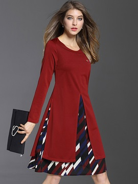 Geometric Patchwork Elegant Day Dress