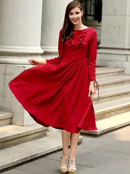 Red Long Sleeve Long Day Dress