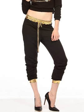 Chic Polyester Loose-Fit  Pant