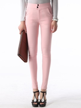 Candy Color Cotton Blends Women's Pencil Pant