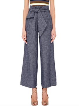 Gray Strap Bowknot Wear To Work Palazzo Pants